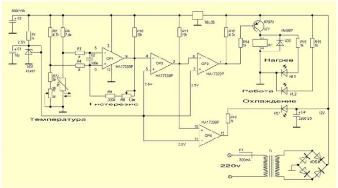 Схема терморегулятора с компаратором